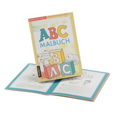 ABC-Malbuch für Kinder mit Affe und Geko