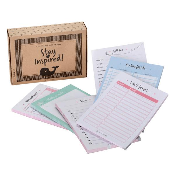 6 Notizblöcke mit ToDo-Listen, Einkaufszettel, Wochenplaner, Notizzetteln und passender Schachtel