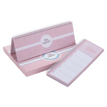 rosa Tischkalender mit passender rosa Displaverpackung