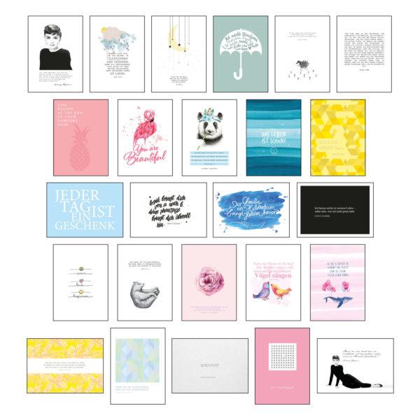 Übersicht aller Postkarten des Postkartensets #2 mit Sprüchen & Zitaten von Stay Inspired! by Lisa Wirth