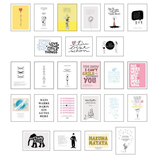 Übersicht aller Postkarten des Postkartensets #3 mit Zitaten zur Motivation von Stay Inspired! by Lisa Wirth