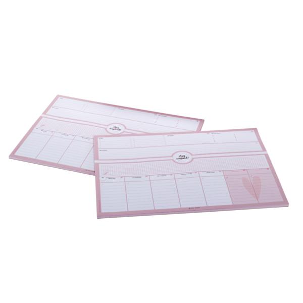 rosa Schreibtischunterlage DIN A3 mit passender Schachtel in rosa/blau