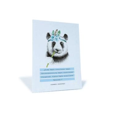 """Postkarte mit Panda und einem Zitat von Eleanor Rossevelt """"Große Köpfe diskutieren Ideen..."""""""