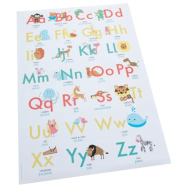 ABC-Poster mit Tieren zum Alphabet-Lernen für Kinder im Kindergarten und Grundschule
