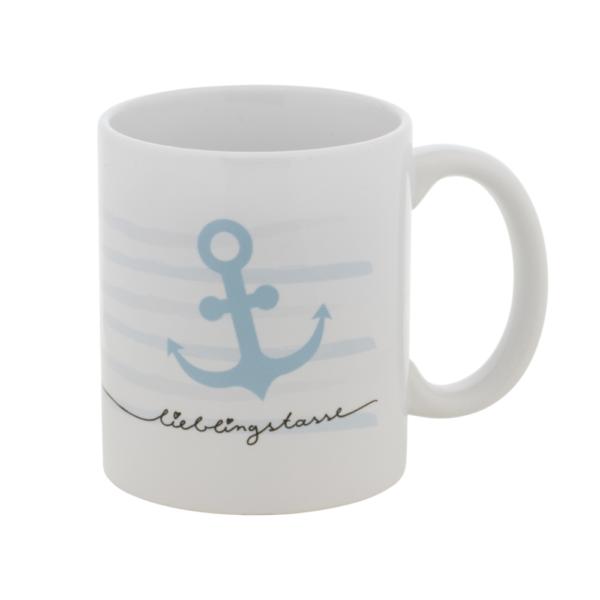 """weiße Keramiktasse mit blauen Streifen und maritimen Ankerdesign und Aufdruck """"Lieblingstasse"""""""