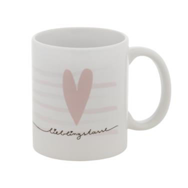 """weiße Keramiktasse mit rosa Streifen und Herz sowie dem Aufdruck """"Lieblingstasse"""""""