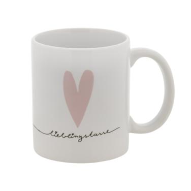"""weiße Keramiktasse mit rosa Herz und """"Lieblingstasse"""""""