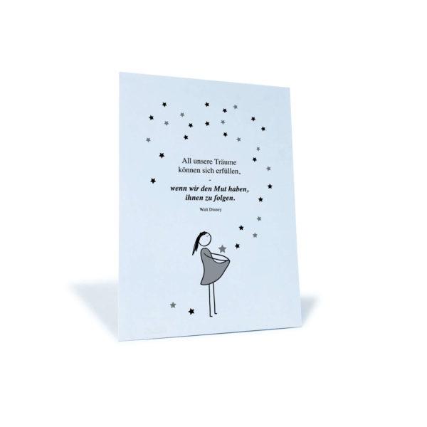 """Postkarte mit Mädchen und Sternen und dem Zitat von Walt Disney: """"All unsere Träume können sich erfüllen, wenn wir den Mut haben, ihnen zu folgen."""""""