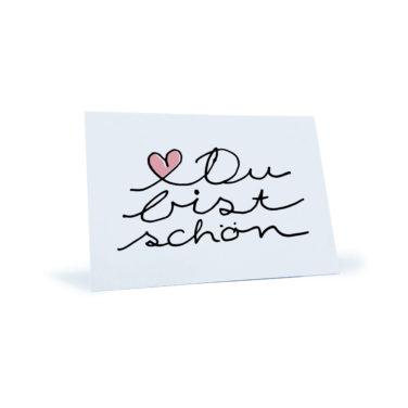 """Postkarte mit rosa Herz und dem Spruch """"Du bist schön"""""""