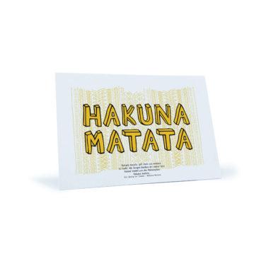 "weiß/gelbe Postkarte ""Hakuna Matata"""