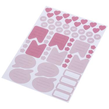 Stickerbogen mit rosa und pinken Stickern, wie Blumen, Herzen, Sprechblasen, ToDo-Listen