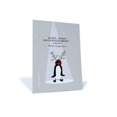graue Weihnachtskarte mit Pinguin der Advent, Advent singt