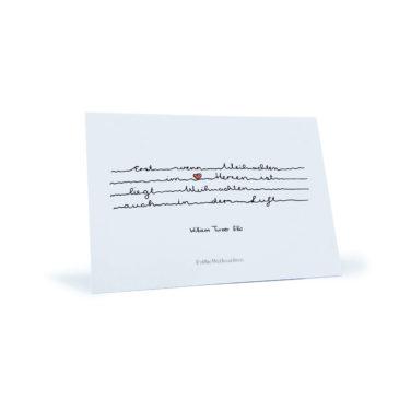 """weiße Weihnachtskarte mit rotem Herz und Zitat von William Turner Ellis """"Erst wenn Weihnachten im Herzen ist..."""""""