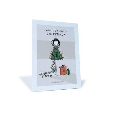 """Chrsitbaum-Männchen mit Lichterkette und Geschenken """"you look like a christbaum"""""""