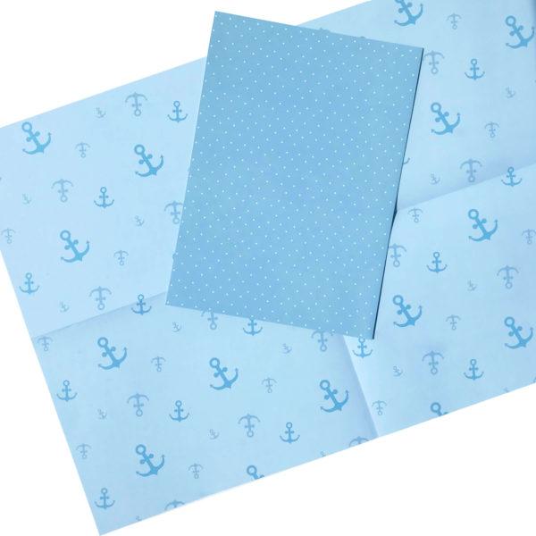 hochwertiges blaues Geschenkpapier/Bastelpapier/Scrapbookingpapier gepunktet und mit Ankermotiv