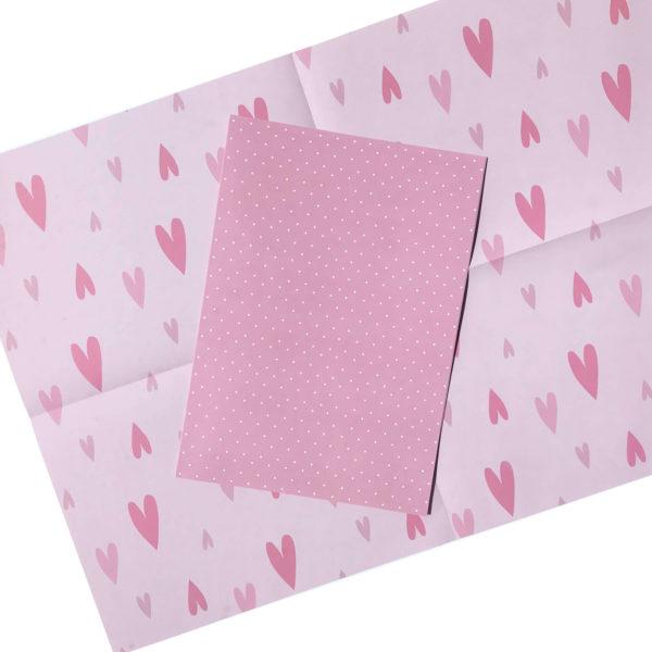 hochwertiges rosa Bastelpapier/Geschenkpapier/Scrapbookingpapier gepunktet und mit Herzmotiv