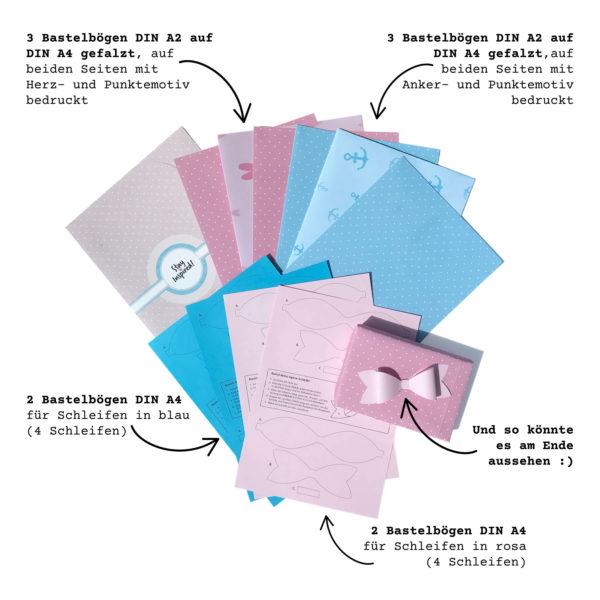 Übersicht des Geschenkpapiers/Scrapbooking-Papiers mit Bastelpapier für Papierschleifen