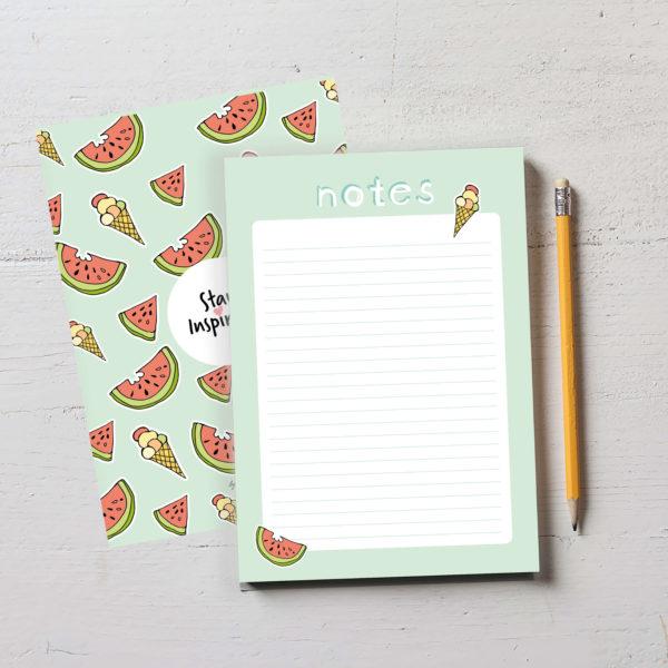 wunderschöner grüner Notizblock mit Wassermelonen und Eis auf der Rückseite von Stay Inspired! by Lisa Wirth