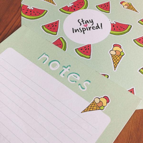 """Notizblock """"Notes"""" liniert mit Eis- und Wassermelonenmotiv"""