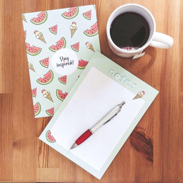 """Notizblock liniert """"Notes"""" mit Eis- und Wassermelonenmotiv und einer Teetasse mit Herzmotiv"""