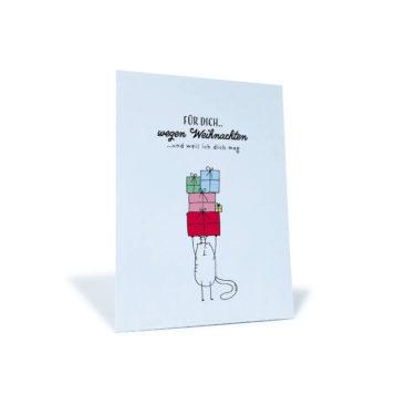 """Weihnachtskarte mit Katze und Geschenken """"Für dich wegen Weihnachten... weil ich dich mag"""""""