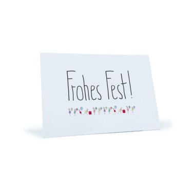 """Weihnachtspostkarte mit Menschen die sich Geschenke schenken """"Frohes Fest!"""""""