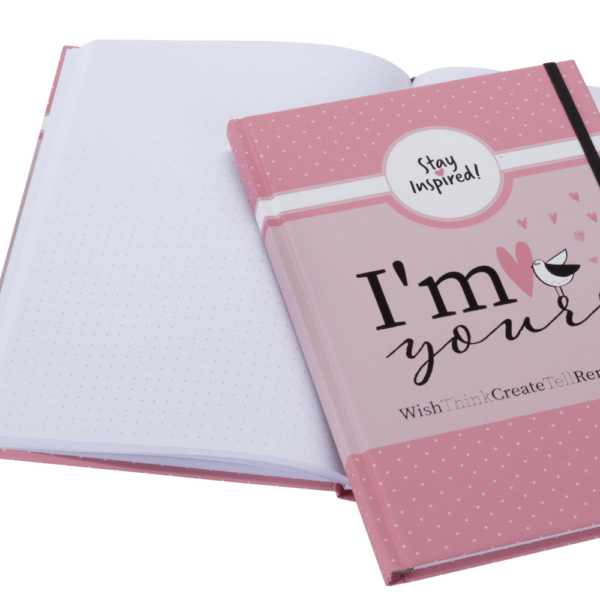 "hochwertiges Notizbuch/Bullet Journal in rosa ""I'm Yours"" mit Dot Grid von Stay Inspired! by Lisa Wirth"