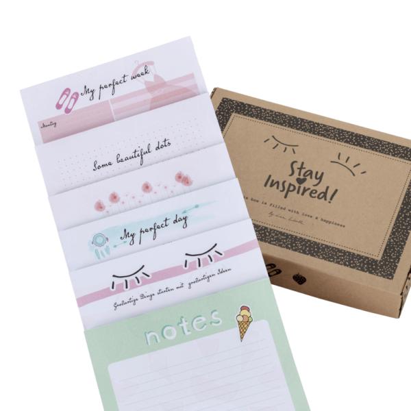 Übersicht aller 6 Notizblöcke im 6-teiligen Notizblock-Set DIN A5-Format von Stay Inspired! by Lisa Wirth