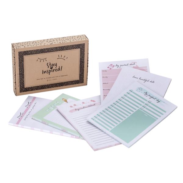 Übersicht aller 6 Notizblöcke im 6-teiligen Notizblock-Set DIN A5-Format inkl. süßer Verpackung von Stay Inspired! by Lisa Wirth