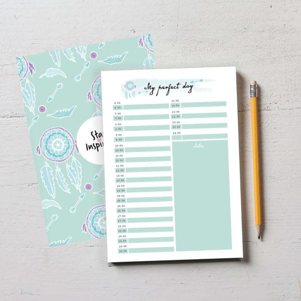 """wunderschöner türkisfarbener Notizblock bzw. Tagesplaner """"My perfect day"""" mit farbiger Rückseite im DIN A5-Format von Stay Inspired! by Lisa Wirth"""