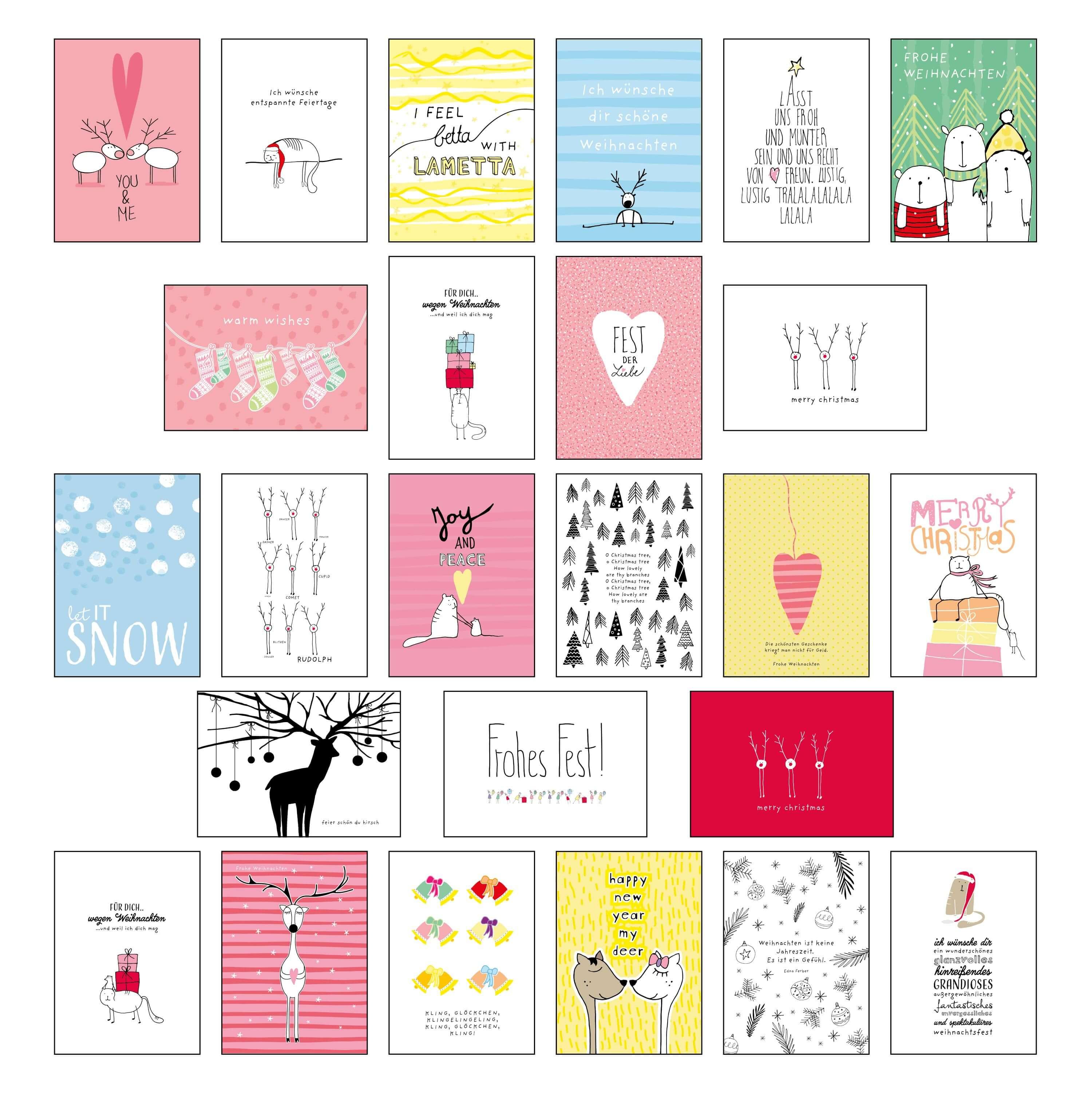 lustiges weihnachts postkarten set stay inspired. Black Bedroom Furniture Sets. Home Design Ideas