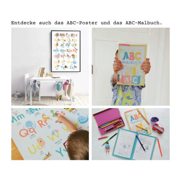 Übersicht des ABC-Lernposter und ABC-Malbuch mit Jungen im Kinderzimmer