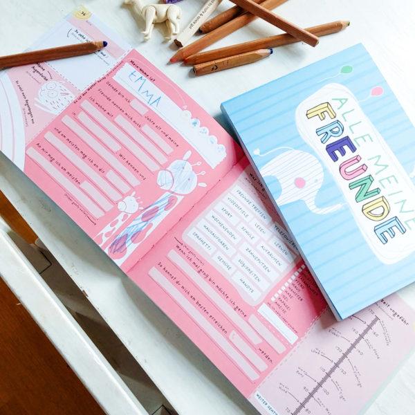 ausgefülltes Freundebuch für Kinder in Kindergarten und Grundschule