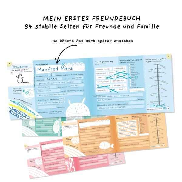 """Innenansicht des Freundebuchs """"Alle meine Freunde"""" mit Beispielen von Stay Inspired! by Lisa Wirth"""