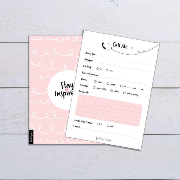 """Notizblock/Rückrufzettel """"call me"""" in rosa mit farbiger Rückseite von Stay Inspired! by Lisa Wirth"""