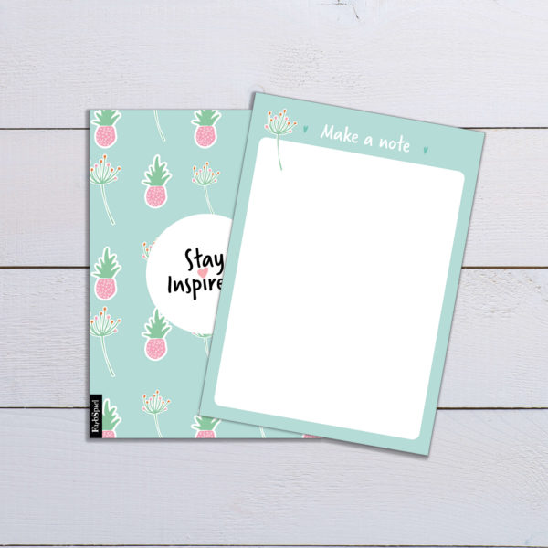 """blank notepad """"make a note"""" in green with pineapple and flower motif by Stay Inspired! by Lisa Wirth"""