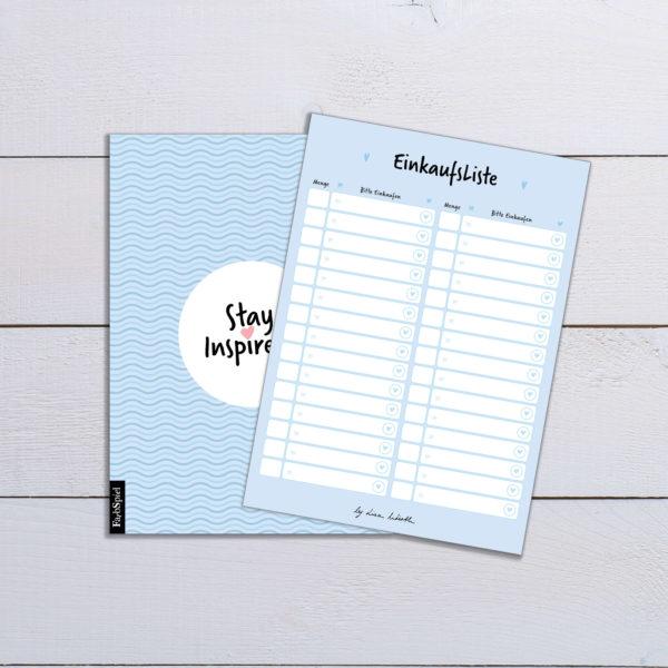 blaue Einkaufsliste mit farbiger Rückseite (DIN A6) von Stay Inspired! by Lisa Wirth