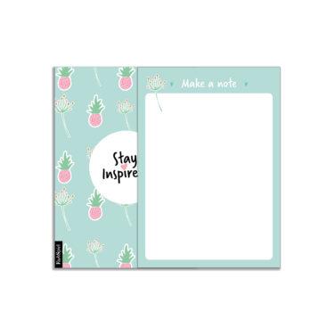 """Blanko-Notizblock """"make a note"""" in grün mit Ananas- und Blumenmotiv von Stay Inspired! by Lisa Wirth"""
