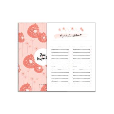 """Notizblock mit ToDo-Liste im DIN A5-Format """"Organisationstalent"""" mit farbiger Rückseite von Stay Inspired! by Lisa Wirth"""