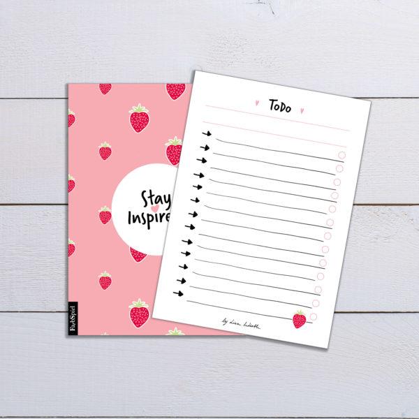 Notizblock/ToDo-Liste mit Erdbeermotiv auf der Rückseite (DIN A6) von Stay Inspired! by Lisa Wirth