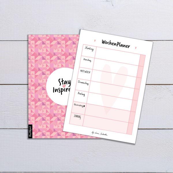 Notizblock bzw. Wochenplaner von Montag bis Freitag mit farbiger Rückseite in rosa DIN A6 von Stay Inspired! by Lisa Wirth