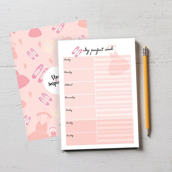 """wunderschöner rosa Notizblock bzw. Wochenplaner """"my perfect week"""" im DIN A5-Format mit farbiger Rückseite von Stay Inspired! by Lisa Wirth"""