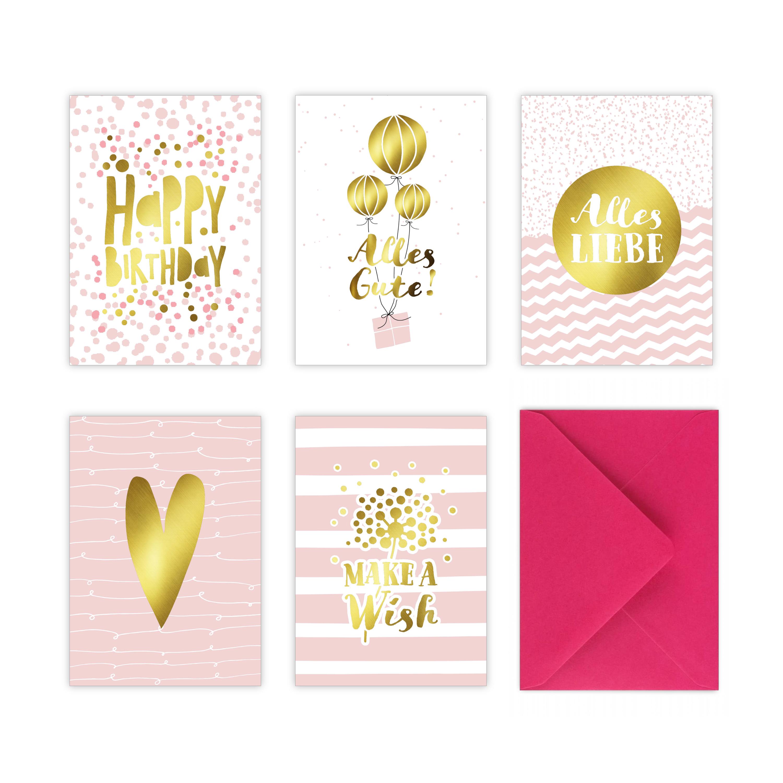 rosa gold geburtstagskarten glückwunschkarten im set stay inspired