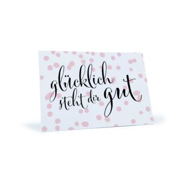 """rosa gepunktete Postkarte """"glücklich steht dir gut"""""""