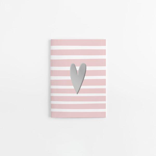 rosa/weiß gestreiftes Notizheft mit Herz in Silber auf der Frontseite