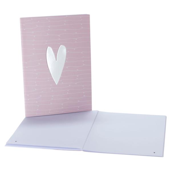 rosa Notizheft mit blanko Seiten und Silberfolien-Prägung im Herzdesign