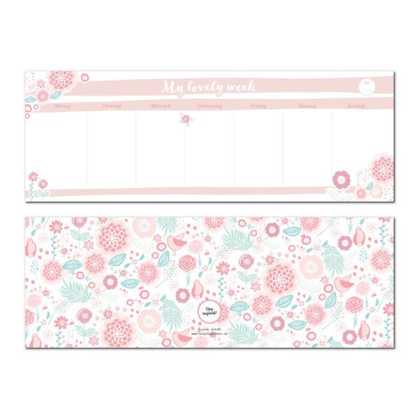 rosa Tischkalender zum Abreißen mit Blumenmotiv