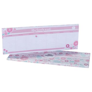 rosa Tischkalender mit Blumen-Design zum Abreißen ohne Datum