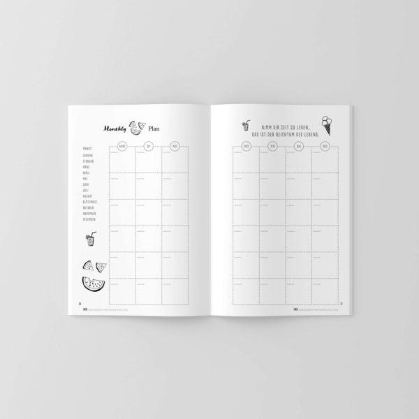 Terminkalender ohne Datum im handlichen Format mit süßen Illustrationen auf den Innenseiten