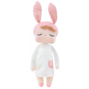 """Hasenmädchen, Hasenpuppe """"Angela"""" von metoo mit rosa Mütze und weißem Kleid"""